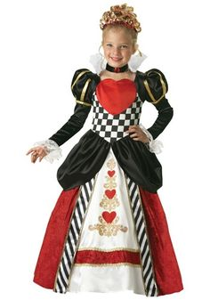 You have quite a reputation little Missy! In this Child Deluxe Queen of Hearts Costume are you going to transform  into a nice queen or continue scaring Alice?