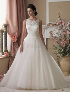 ❀ Wedding Dresses Bridal Gown Sequined Glitter Sleeveless Crew-Neck Floor-Length A-Line Tulle | Riccol ❤