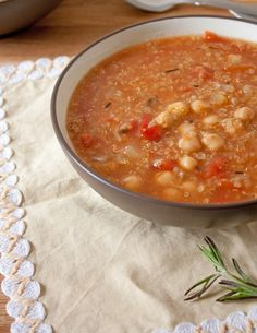 Chickpea, Quinoa, and Tomato Soup by the Vegan Chickpea. #veganrecipes
