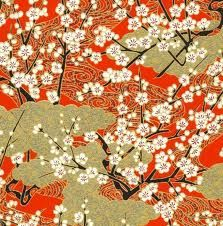 Chiyogami or yuzen paper - pretty clusters of pink cherry blossoms with gold swirls on magenta, inches Chinese Fabric, Japanese Fabric, Japanese Paper, Japanese Patterns, Japanese Prints, Japanese Design, Japanese Style, Hand Applique, Embroidery Applique