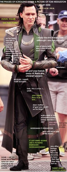 """THIS IS SO FUNNY! One person's mental battle while scrolling through a photo of Loki.   """"any other human would have the decency for their feet to stop here...but no"""""""