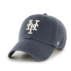 New York Mets Clean Up Vintage Navy 47 Brand Adjustable Hat - Detroit Game Gear Detroit Game, New York Mets, Fan Gear, Clean Up, Hats For Men, Caps Hats, Baseball Hats, Brand New, Navy