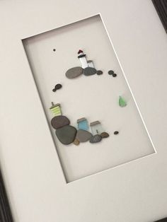 12 by 16 sea side art made with pebbles sea glass and от PebbleArt