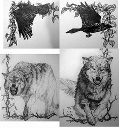 Huginn, Muninn, Geri and Freki by Meador on DeviantArt