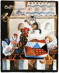 Котик серенький присел На печурочке И тихохонько запел Песню Юрочке: — Вот проснулся петушок, Встала курочка, Подымайся, мой дружок, Встань, мой Юрочка!
