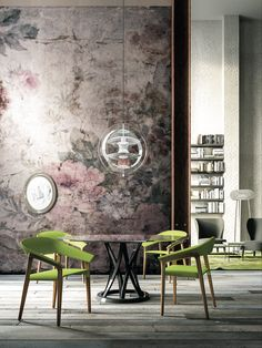 #StyleStories - When we saw the old wallpaper, we immediately thought of a second wind for our future home. Our existing furniture, with all its timeless history, was just perfect.  Volcano table, Memory armchair, Spring lounge, Cab small table
