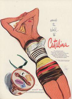 Around the World It's Catalina Swimsuit vintage ad., Dec.1951 Vogue. #1950sfashion #fiftiesbathingsuit