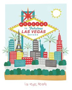 Las Vegas, Nevada - 8x10 - city art illustration wall decor. $14.00, via Etsy.