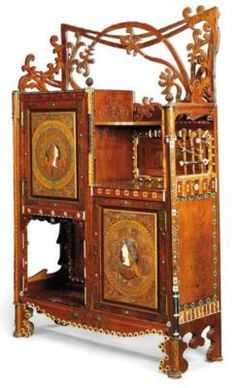 Cabinet 1910 Christie's Art Nouveau Furniture, Art Furniture, Furniture Design, Victorian Furniture, Antique Furniture, Muebles Art Deco, Decoration, Architecture, Painting