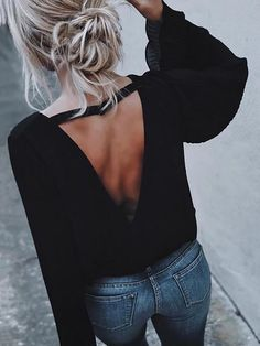 Sexy Flared Sleeve Cut Out Top Blouse