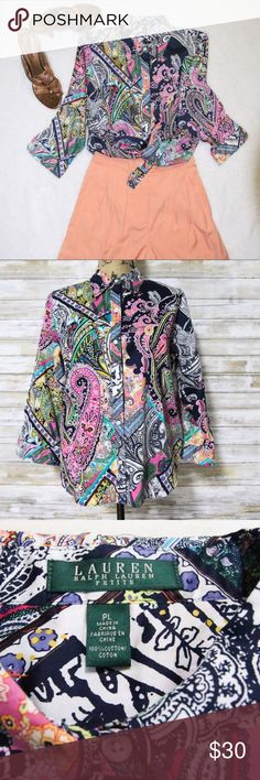 Ralph Lauren Paisley Top sz Lp Ralph Lauren colorful paisley blouse   Gently worn  sz LP 100% cotton Ralph Lauren Tops Blouses