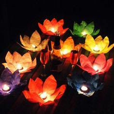 Silk Lotus Flower Wishing Lamp Floating Water Candle Light Birthday