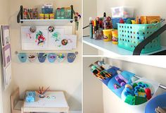 DIY Creativity: Open the door to creativity by giving lil ones access to the tools they need to create their masterpieces. Over at Modern Parents Messy Kids, one smart mama headed over to Ikea to buy a shelf and brackets, a magnetic board, a rail and containers, and a small table and chairs to create the perfect arts and crafts nook for a busy tot.    Source: Modern Parents Messy Kids