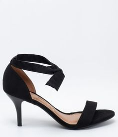 Sandália Feminina com Salto Fino e Amarração Vizzano - Renner Kitten Heels, Shoes, Fashion, Women's Sandals, Heel, Black, Pink, Moda, Zapatos