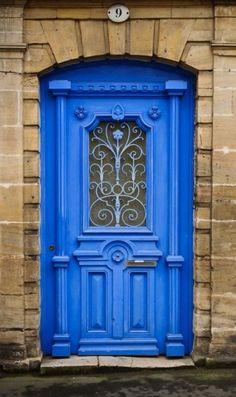 Blue door in Bayeux, Calvados, France Door Entryway, Entrance Doors, Doorway, Front Doors, Cool Doors, Unique Doors, Door Knockers, Door Knobs, Door Handles