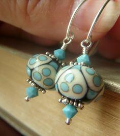 Aqua Lampwork Earrings on Sterling  Artisan SRA by beadstylin