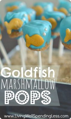 Goldfish Marshmallow Pops. Such a cute idea for a goldfish, mermaid, or under-the-sea themed party, or really just because. These are WAY easier than cake pops--whip 'em up in less than 30 minutes!