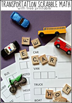 Transportation themed Scrabble math activity for kids with free printable from And Next Comes L
