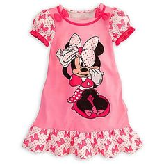 Disney Minnie Mouse Pink Nightshirt Nightgown Pajamas with Bows for... ($30) ❤ liked on Polyvore featuring baby, children and kids clothes