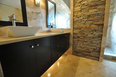 Bathroom stacked stone Design Ideas, Pictures, Remodel and Decor