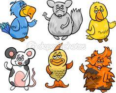 bichinhos fofos definir ilustração dos desenhos animados — Ilustração de Stock #45242963