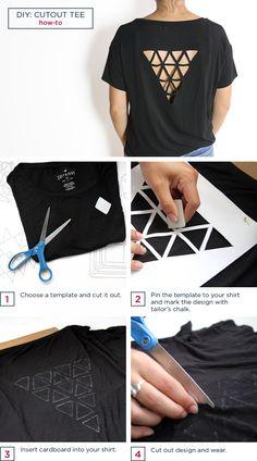 Diy Cut Shirts, T Shirt Diy, Diy Fashion, Ideias Fashion, Fashion Blogs, Fashion Dresses, Jean Diy, Cut Shirt Designs, T-shirt Und Jeans