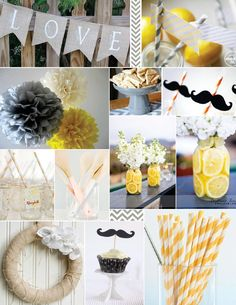 yellow and grey. Napkin wrapped silverware. love the stock with the lemon slices