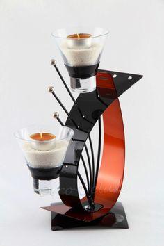 Teelichthalter mit Swarovski Elementen schwarz-orange