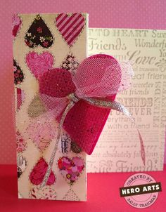 Hero Arts Cardmaking Idea: Tulle Heart---I like the tulle accent on the bow