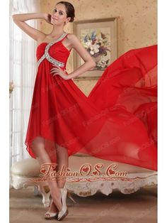 Red Empire One Shoulder Chapel Train Chiffon Beading Prom Dress  http://www.fashionos.com  This gown has a high waistline and a high-low skirt that flows straight from this waistline. The bodice is very special for the beading one shoulder strap. The high-low skirt creates a beautiful shape to complete the dress. You will look like princess in the dress.
