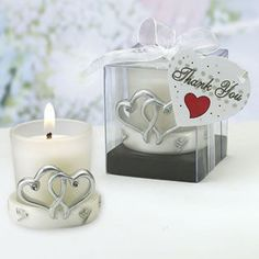 Double Heart Candle Holder - simple silver double heart holder makes a great wedding favor! http://www.favorfavor.com/page/FF/PROD/3939