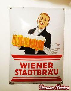 Wiener Stadtbräu Kellner - Emailschild Wien um 1920, 50 x 70 cm Hersteller Papier- und Blechdruck Industrie R. Bruchsteiner Wien XII Vintage Advertisements, Ads, 1920, Porcelain Signs, Retro, Old School, German, Advertising, Austria