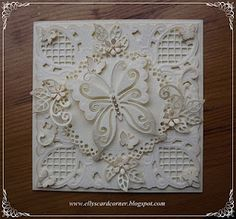 Elly's Card Corner: Lovely monochromatic butterfly card.  Just stunning!