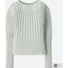 UNIQLO Women's U 3d Ribbed Balloon Crewneck Sweater (€32) ❤ liked on Polyvore featuring tops, sweaters, light gray, crew neck sweater, light gray sweater, crew neck top, twist sweater and crew sweater