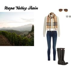 Napa Valley Rain by megnapavalley on Polyvore featuring 2nd Day, rag & bone, Hunter, Burberry, Ray-Ban, hunter, napavalleylife and noeasyday