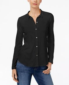 Eileen Fisher Organic Cotton Shirt - Tops - Women - Macy's