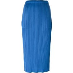 Pleats Please By Issey Miyake Pleated Midi Pencil Skirt ($231) ❤ liked on Polyvore featuring skirts, blue, blue pencil skirt, calf length pencil skirt, pleated skirt, pencil skirt and blue pleated skirt