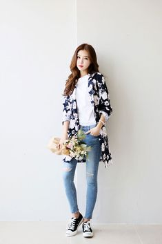Flower Pattern Long Coat | Korean Fashion