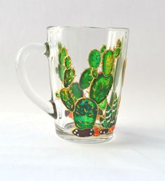 Cactus mug Painted glass mug Personalized mug Succulent gift Painted glassware Cactus mug succulent gift Succulent cup Floral mug Unique coffee mug Cactus decorations Hand painted