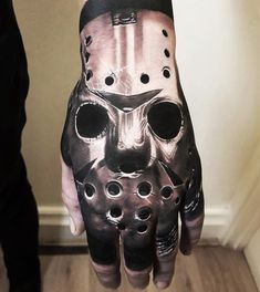 Tag someone who likes scary movies Jason Voorhees tribute made by - Womanly Life Unique Hand Tattoos, Full Hand Tattoo, Full Arm Tattoos, Top Tattoos, Body Art Tattoos, Tattoos For Guys, Sleeve Tattoos, Evil Tattoos, Spooky Tattoos