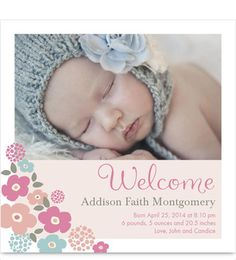 Cascading Flowers Photo Birth Announcement