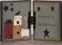 Primitive Home Decor-Hinged Wooden Panels-Sheep-Shaker Boxes-Saltbox House-Stars & Crow Primitive Sheep, Primitive Signs, Primitive Crafts, Primitive Country, Wood Craft Patterns, Tole Painting Patterns, Paint Patterns, Christmas Pallet Signs, Christmas Wood Crafts