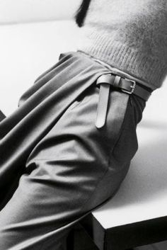 details - draped trousers, cinched belt