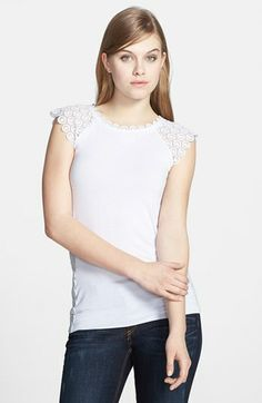 Bailey 44 'Ava' Cap Sleeve Lace Trim Top available at #Nordstrom