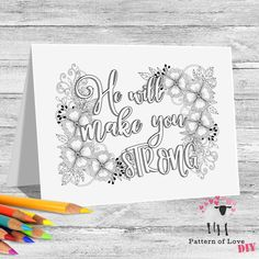 He Will Make You Strong Coloring Printable Note Cards | Etsy Jw Gifts, Note Cards, Card Stock, Coloring, Printables, Notes, Strong, Make It Yourself, Lettering