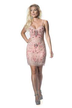 Ash Pink - Vestido de alça, bordado em pedraria com tule rosa. #glam #fashion #cool #ootd #cute #style #trends #aboutalook