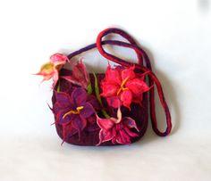 Big Flowers Felted Bag Felted Handbag Felted bag Purple flower unique bag Boho Burgundy Art Shoulder Bag by FeltBagsbyMarta on Etsy