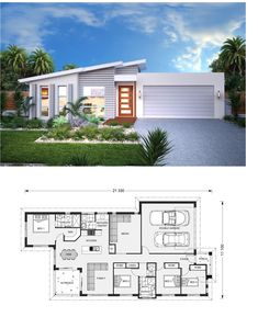 One Story House Plan Sketchup Home Design Sims House Plans, House Layout Plans, Dream House Plans, House Layouts, House Floor Plans, Contemporary House Plans, Modern House Plans, Small House Plans, Simple House Design
