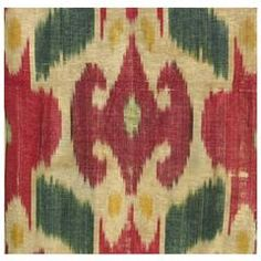 Antique Uzbek Ikat Panel, Central Asia, 19th Century