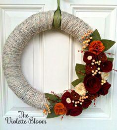 Fall wreath, Yarn Wreath, Fall Decor, Felt Flower Wreath, Holiday Wreath, Front Door Decor, Mantel Decor, Thanksgiving Wreath, 12 Inches by TheVioletteBloom on Etsy https://www.etsy.com/listing/165617733/fall-wreath-yarn-wreath-fall-decor-felt